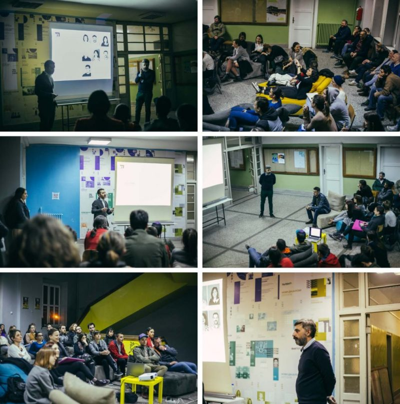 "Photographs from the presentation of KL Studio within the program ""Praktiskop"" at the Faculty of Architecture Skopje."